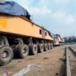 Elevated bridge construction vehicles, - Stock Photo
