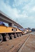 Elevated bridge construction vehicles, — Stock Photo