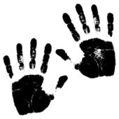 Black hand prints vector illustration — Stockvektor