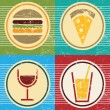 Stock Vector: Vector retro food and drink icons