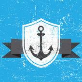 Vector old grunge anchor banner illustration — Stock Vector