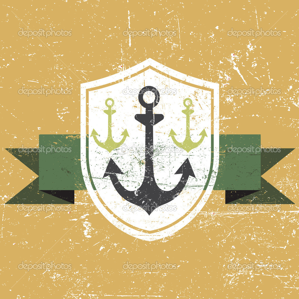 Vector old grunge anchor banner illustration  Stock Vector #11390851