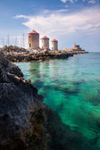 Mandraki Harbour Rhodes — Stock Photo