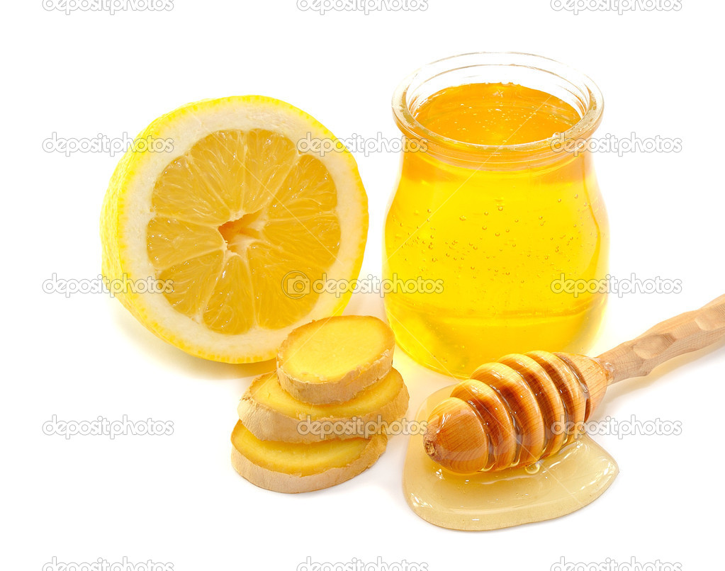 Honey, lemon, ginger, isolated on white background — Stock Photo #10771997
