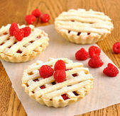 Mini pie with raspberry — Stock Photo