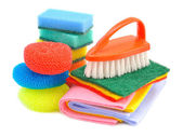 Sponges and brushes for cleaning — Stock Photo