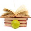 Stock Photo: Books and green apple