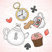 Crazy tea party — Stock Vector