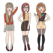 Mode meisjes — Stockvector