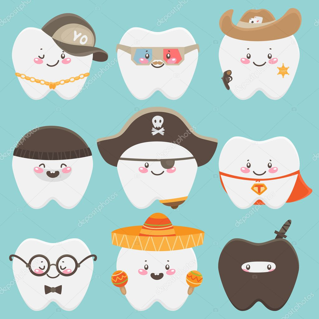 Cute tooth in costume — Imagen vectorial #11221287