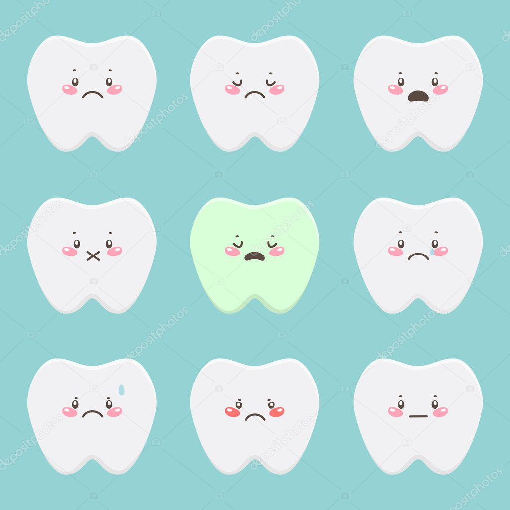 Cartoon set with sad teeth — Stock Vector #11358553