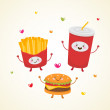 Cute fast food — Stock Vector