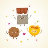 Cute tea party — Stock Vector