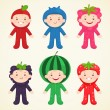 Stock Vector: Cute kids in costumes berries