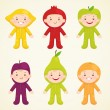 Stock Vector: Cute kids in costumes fruit