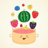 Cute berry jam — Stock Vector