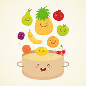 Cute fruit compote — Stock Vector