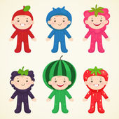 Cute kids in costumes berries — Stock Vector