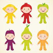 Roztomilé děti v kostýmech ovoce — Stock vektor
