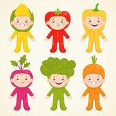 Cute kids in costumes vegetable — Stock Vector