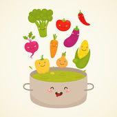 Cute vegetable soup — Stock Vector