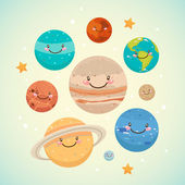 ładny planety — Wektor stockowy