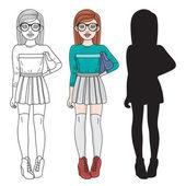 Fashion student — Stock Vector