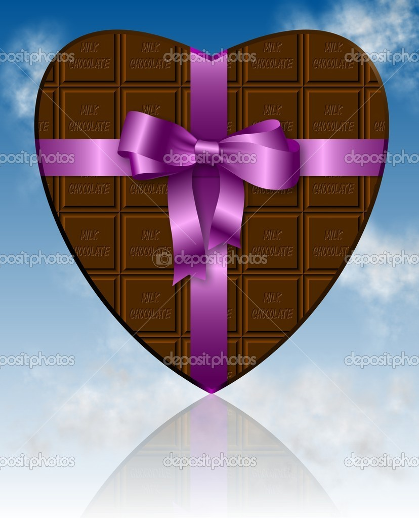 A piece of chocolate shaped as heart and wrapped with a pink ribbon — 图库照片 #10817445