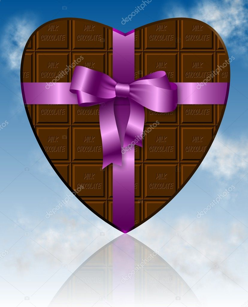 A piece of chocolate shaped as heart and wrapped with a pink ribbon    #10817445