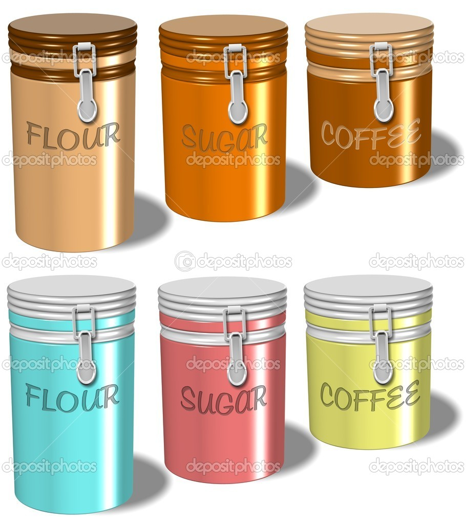 A collection of flour sugar and coffee containers with white background  — Stock Photo #10975349