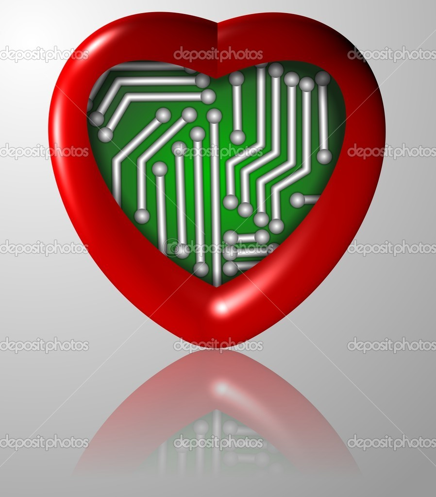 A red heart with an electronic circuit board inside it — Stock Photo #11235882