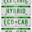 Stock Photo: Electric hybrid car plates