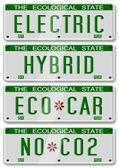 Electric hybrid car plates — Stock Photo