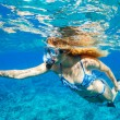 Woman Snorkeling in Tropical Ocean - 图库照片