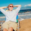 Business man on the beach — Stock Photo