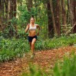 Woman Running in the Forest — Stock Photo