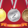 Olympic medals set - gold, silver, bronze — Stock Vector