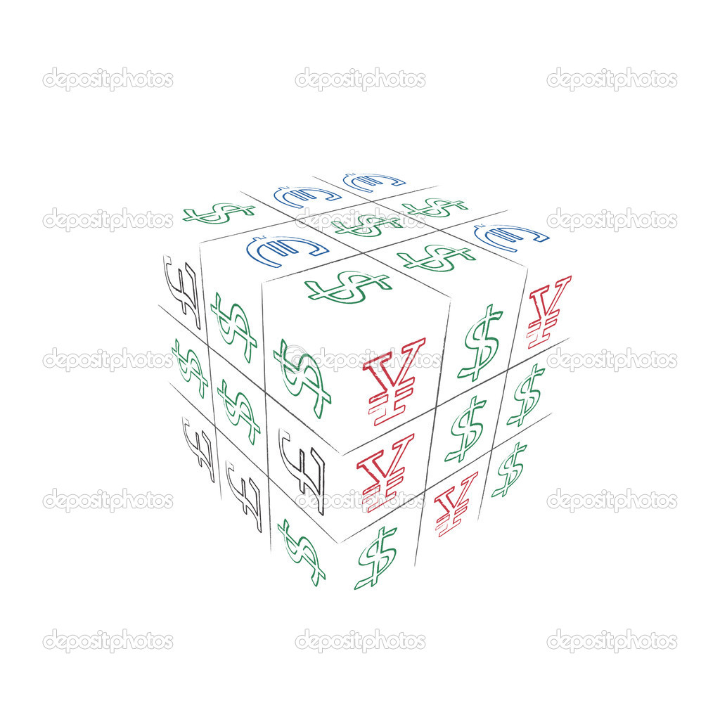 Image of conceptual cube with business ticktacktoe game — Stock Vector #11367010