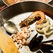 Phased cooking paella — Stock Photo