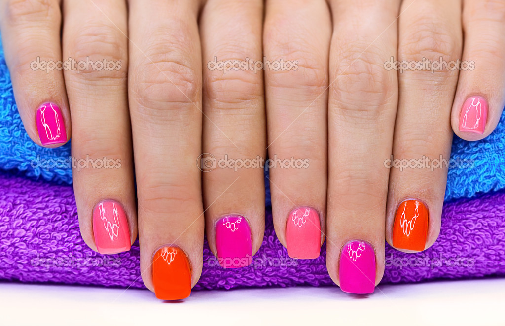 Bright color manicure on a bright background — Stock Photo #11135186