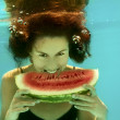 Girl with watermelon — Stock Photo #12056043