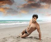 Man on beach sexy — Stock Photo