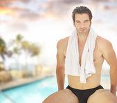 Muž v bazénu — Stock fotografie