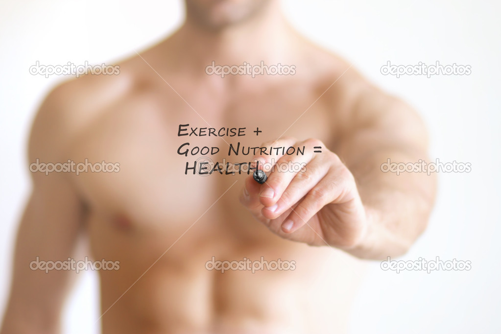 "Concept photo of a fit young shirtless man writing the formular for good health on transparent board that reads ""Exercise + Good Nutrition = Health"" — Stock Photo #11997598"