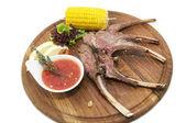 Costine di maiale fritto con salsa — Foto Stock