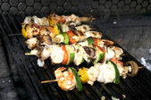 Skewers of seafood — Stock Photo