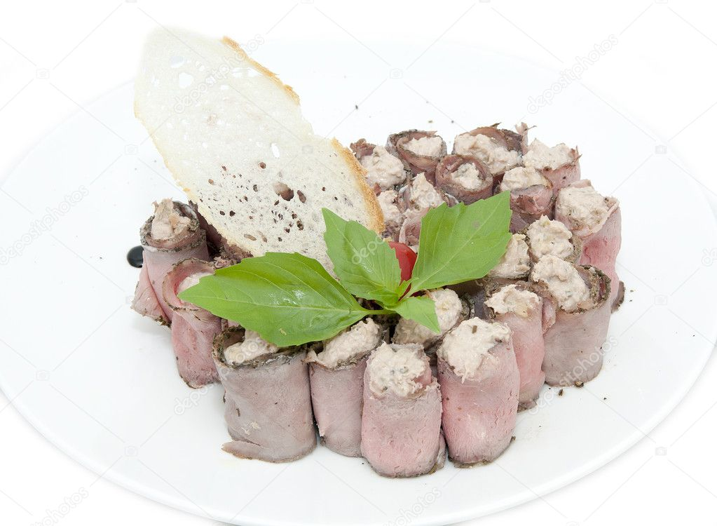 Meat rolls at the restaurant on a white background  Stock Photo #11939786