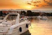 Harbour at sunset — Stock Photo
