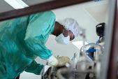 человек, проверка механизма в фармацевтической лаборатории — Стоковое фото