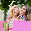 Two female friends smiling with shopping bags - Stock Photo